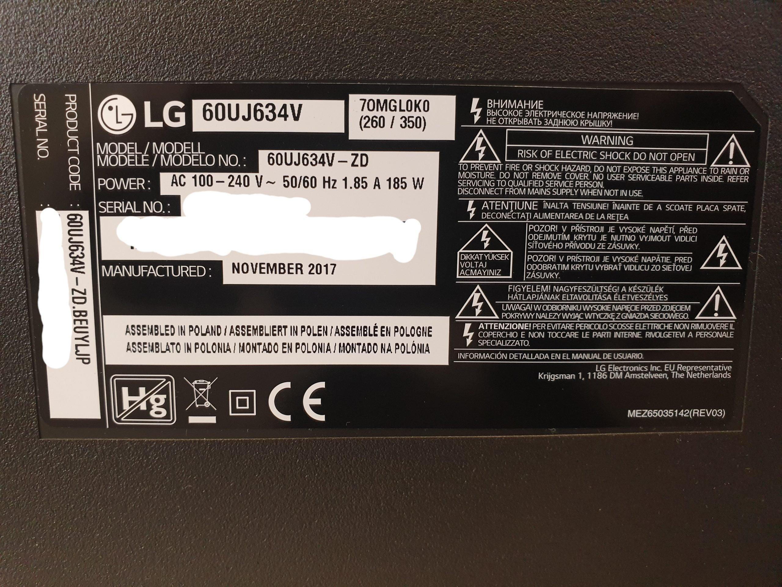 TV LG no enciende servicio tecnico